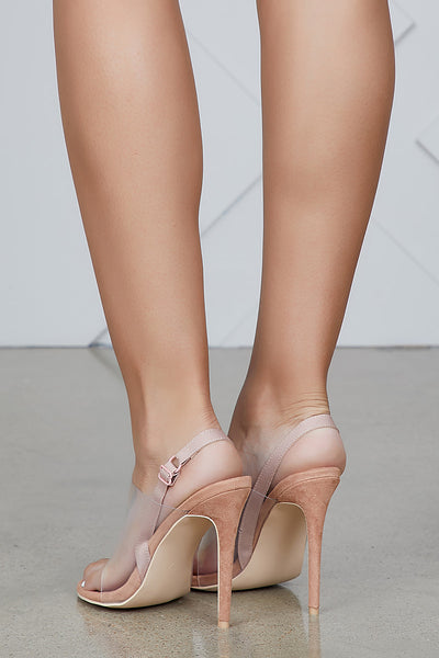 Sensuous Perspex Single Strap Heel (Nude)- FINAL SALE