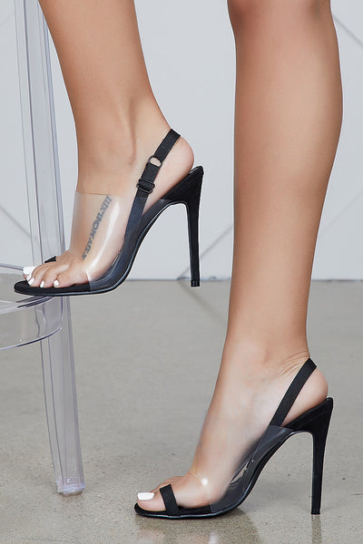 Sensuous Perspex Single Strap Heel (Black)- FINAL SALE