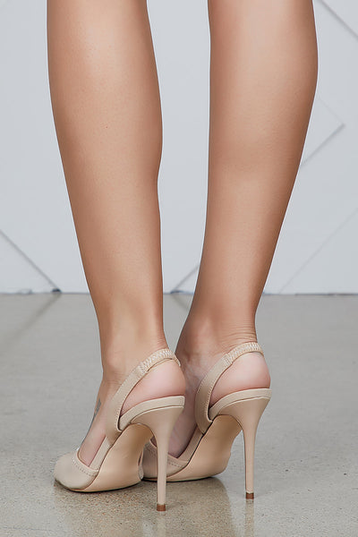 Yuki Lycra Sling Back Heel (Nude)- FINAL SALE