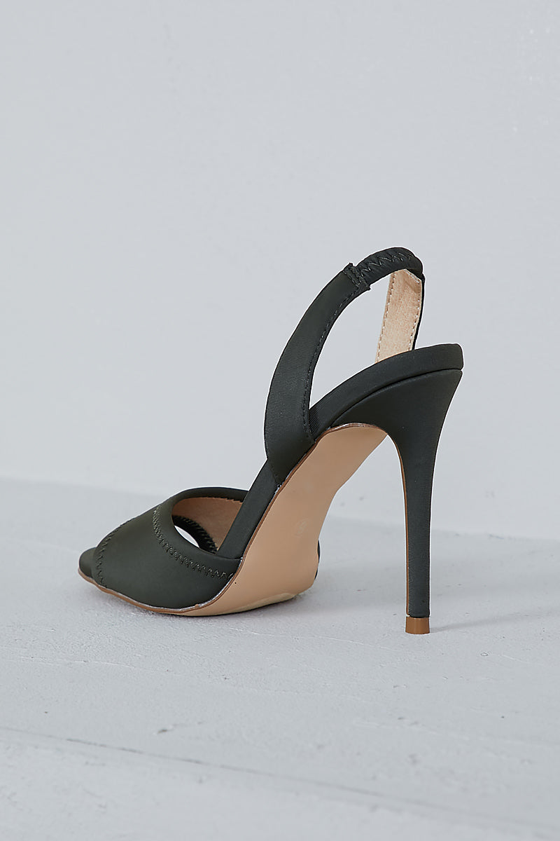 Yuki Lycra Sling Back Heel (Olive)- FINAL SALE