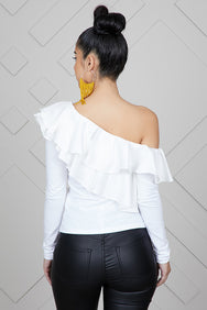 Off Shoulder Ruffle Top (White)