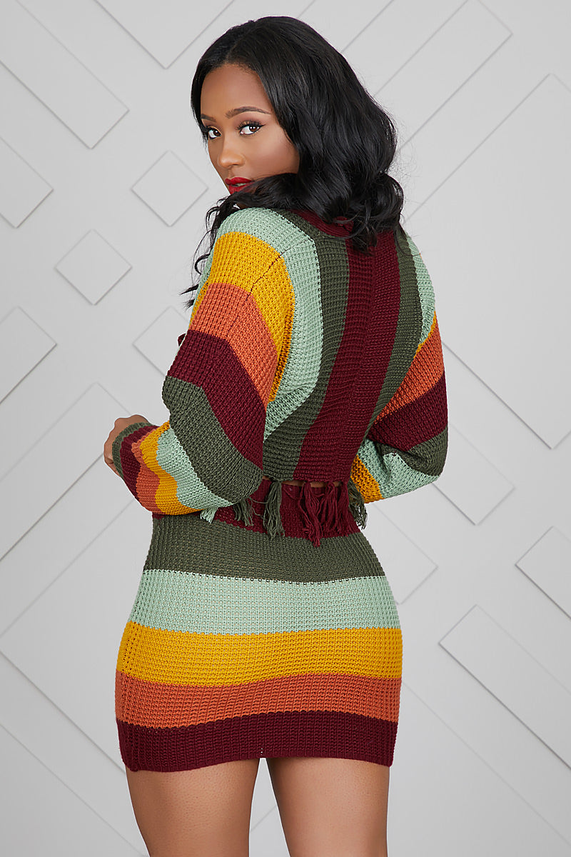 Knit Crochet Skirt Set (Multi Stripe)