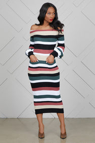 Stripe Midi Sweater Dress