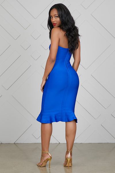 Flirty Sweetheart Midi Bandage Dress (Cobalt Blue)