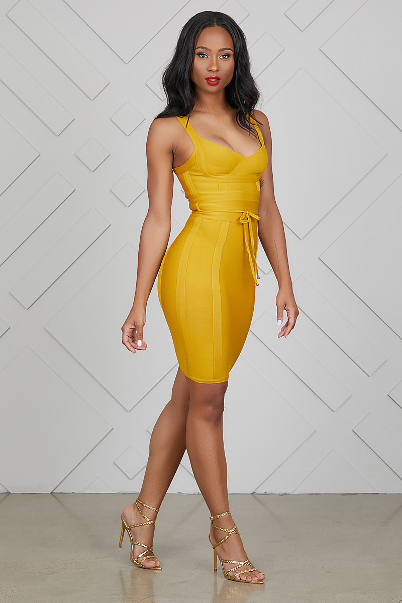 Sweetheart Bandage Dress (Mustard)