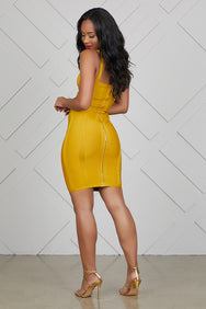 Sweetheart Bandage Dress (Mustard)- FINAL SALE