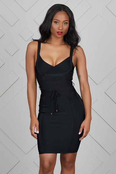 Sweetheart Bandage Dress (Black)