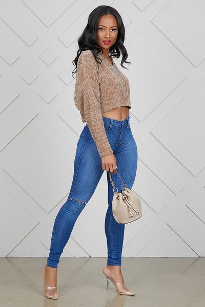 Lux Brown Sugar Crop Sweater- FINAL SALE
