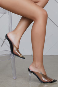 Cinderella Clear Mule Heels (Black)- FINAL SALE