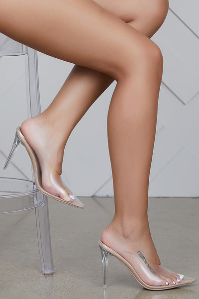 Cinderella Clear Mule Heels (Nude)- FINAL SALE