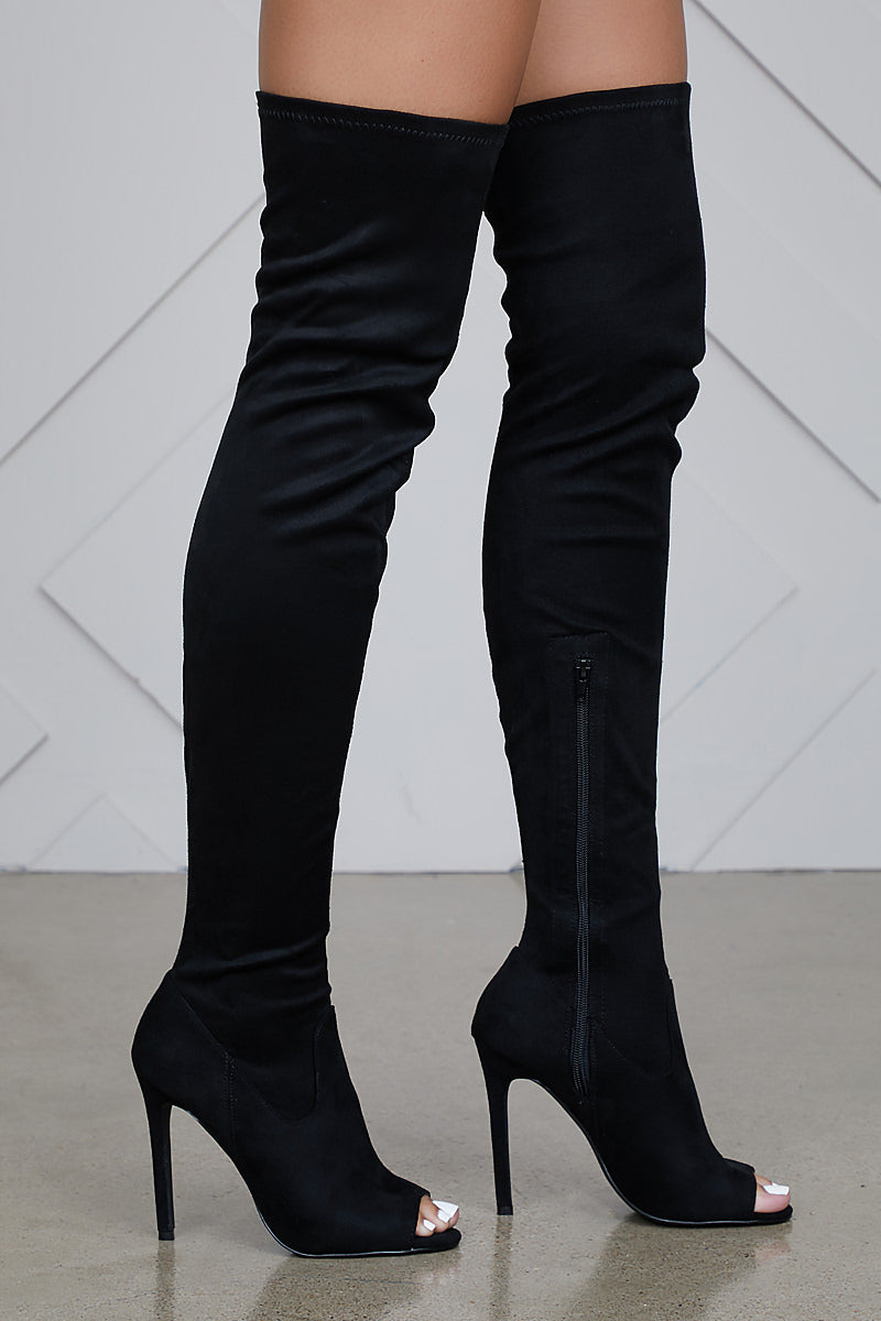 Thigh High Peep Toe Boots