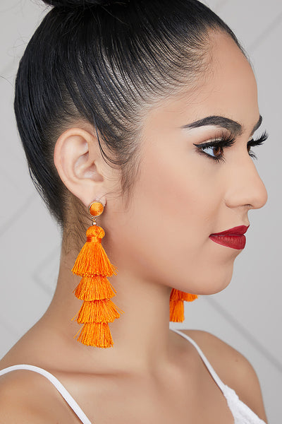 Four Tiered Tassel Earrings (Orange)