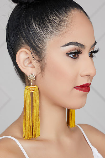 Double Tassel Earrings (Mustard)