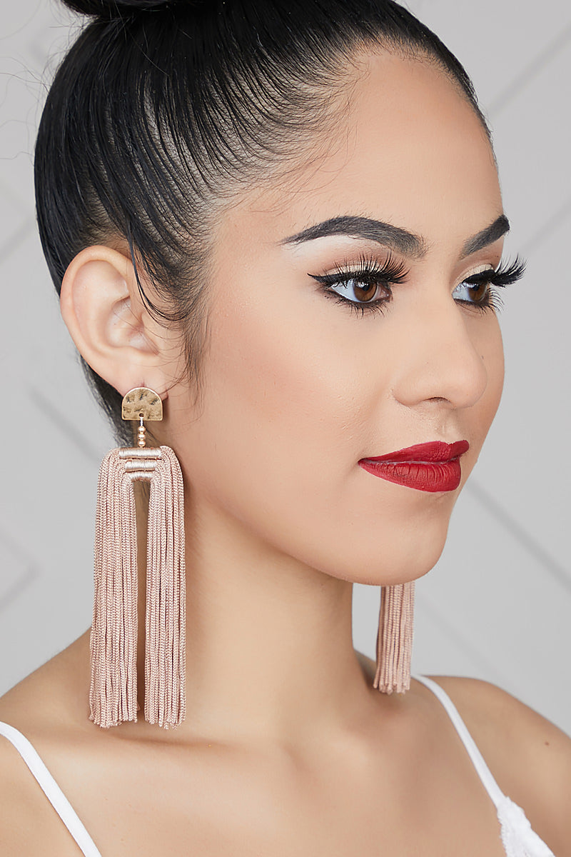 Double Tassel Earrings (Taupe)