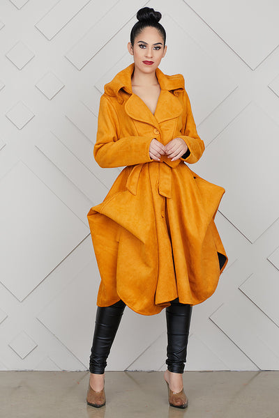 Exaggerated Statement Coat (Mustard)- FINAL SALE