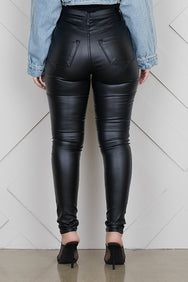 High Waist Faux Leather Pants (Black)