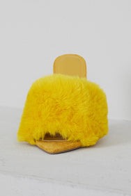 Faux Fur Mule Heels (Yellow)