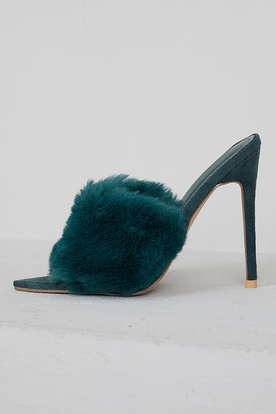 Faux Fur Mule Heels (Green)