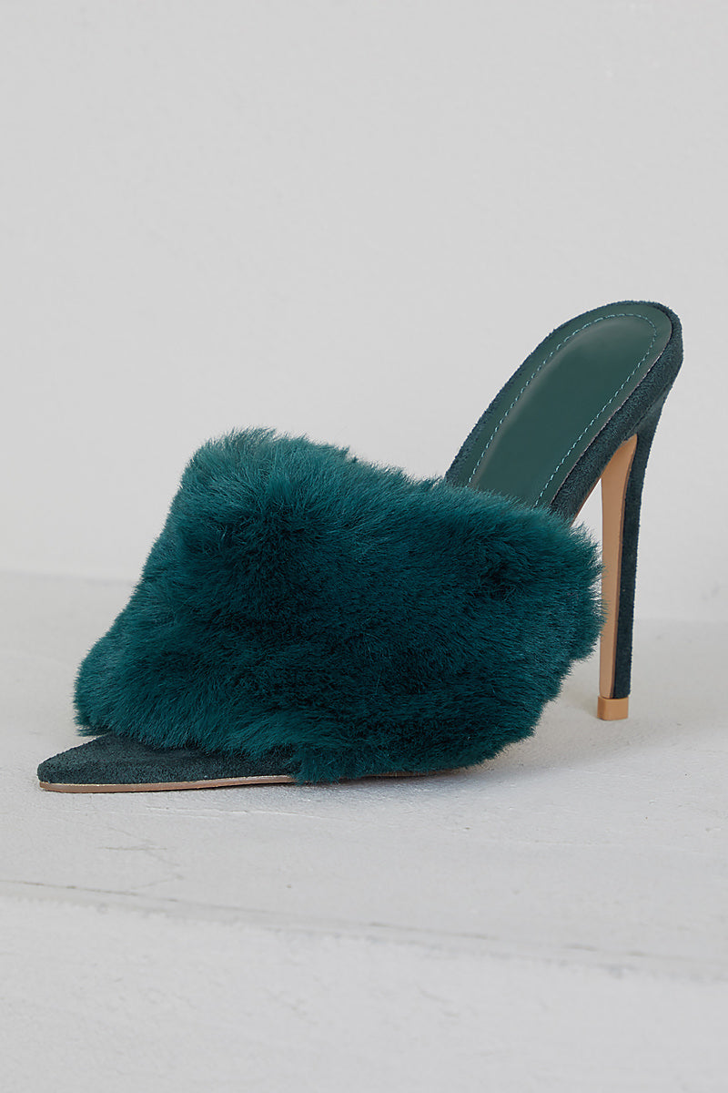 Faux Fur Mule Heels (Green)- FINAL SALE