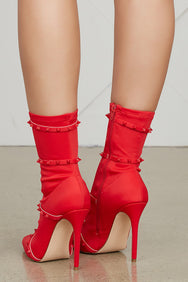 Baylee Studded Bootie (Red)- FINAL SALE
