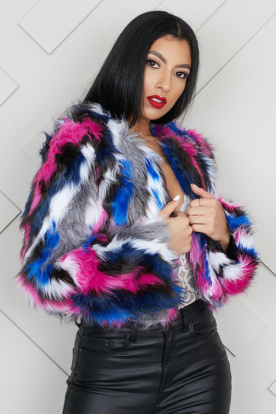 Winter Wonderland Faux Fur Jacket (Multi)