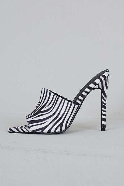 Jungle Pointed Toe Mule (Zebra)- FINAL SALE