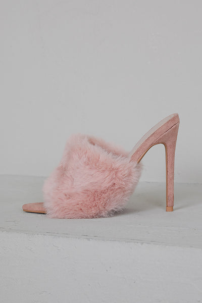 Faux Fur Mule Heels (Pink)-FINAL SALE
