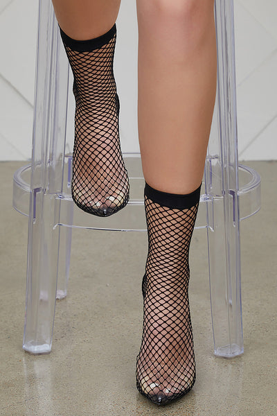 Fishnet Perspex Slingback Pump (Black)