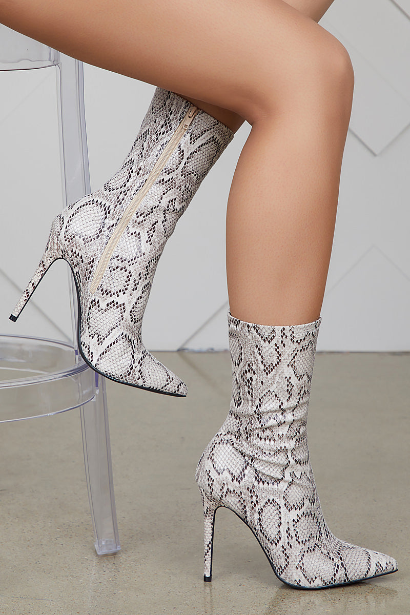 Maybel Snakeskin Booties - FINAL SALE
