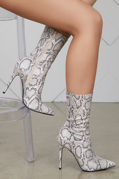 Maybel Snakeskin Booties