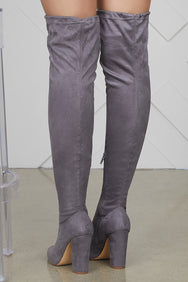 Thigh High Chunky Heel Boots (Grey)- FINAL SALE