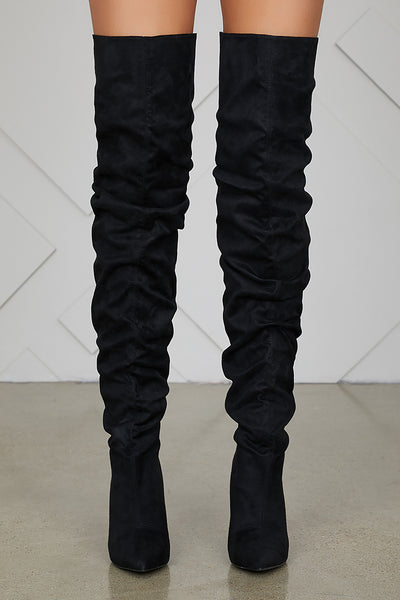 Thigh High Ruched Boots (Black)