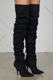 Thigh High Ruched Boots (Black)- FINAL SALE