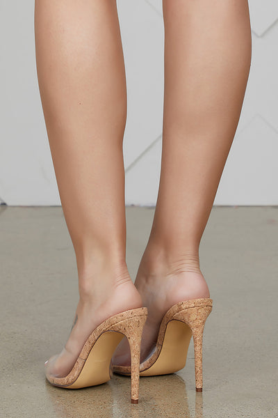 Laurent Transparent Mule (CORK) - FINAL SALE