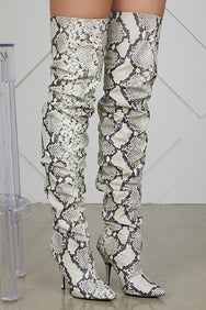 Thigh High Ruched Boots (Snake Skin)