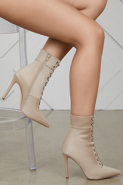 Social Lace Up Bootie (Taupe)