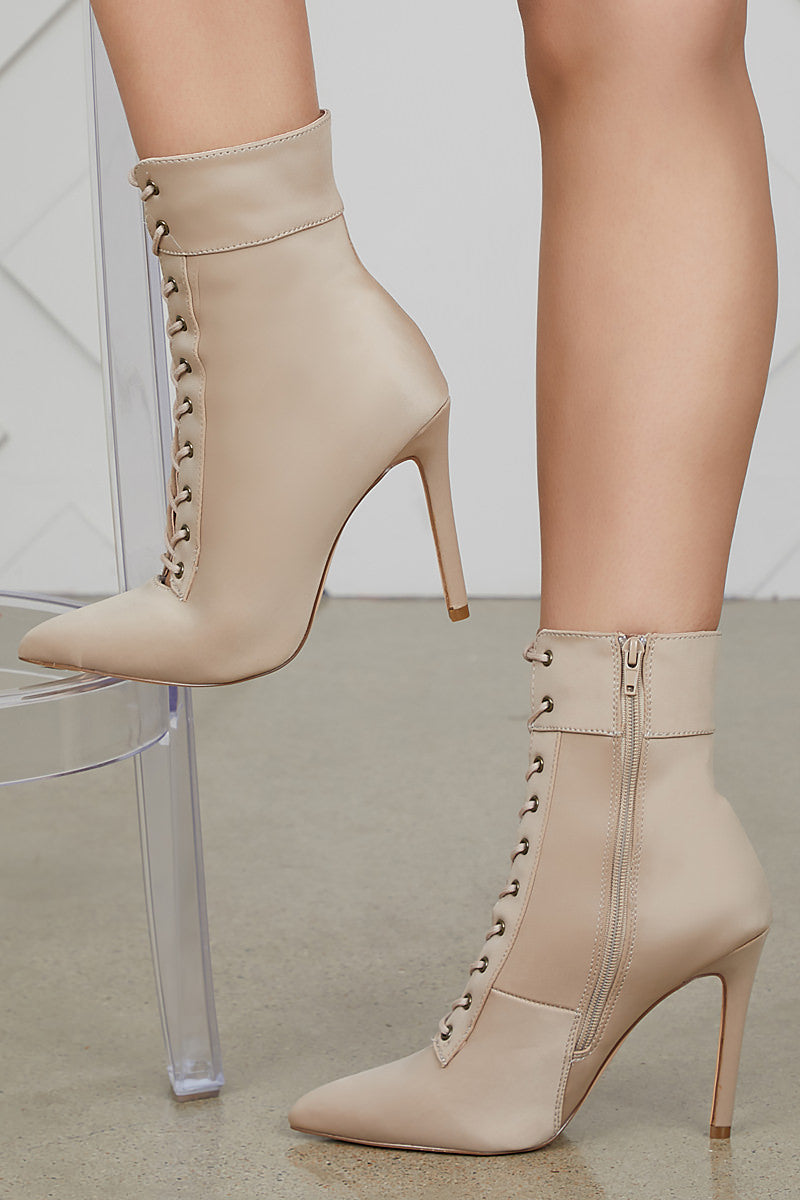 Social Lace Up Bootie (Taupe)- FINAL SALE