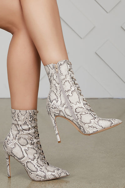 Social Lace Up Bootie (Snake)