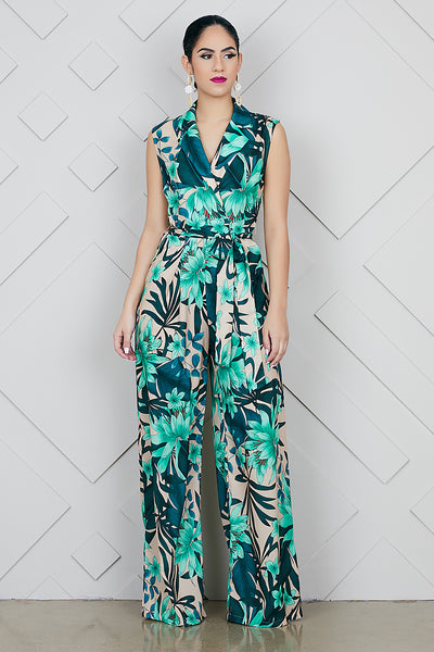 Tropical Fusion Wide Leg Jumpsuit- FINAL SALE