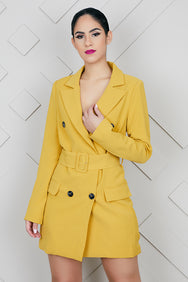 Boss Lady Blazer Dress (Mustard)-FINAL SALE