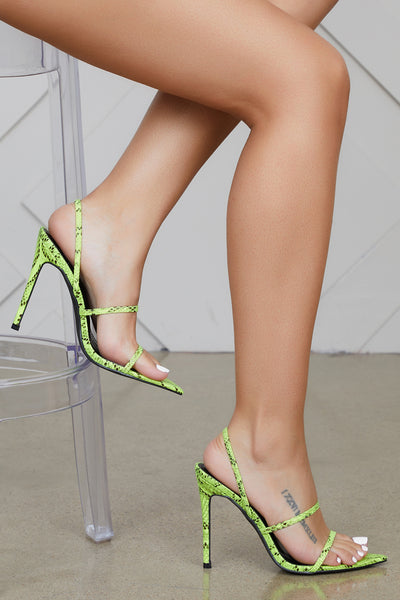 Barefoot Single Sole Heels (Lime Snakeskin)