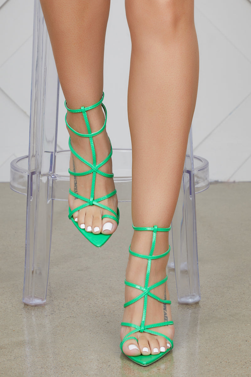 Friday Caged Heels (Green)