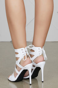 Icy Girl Cut Out Heels (White)- FINAL SALE