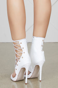 Firing Lace Up Bootie (White)