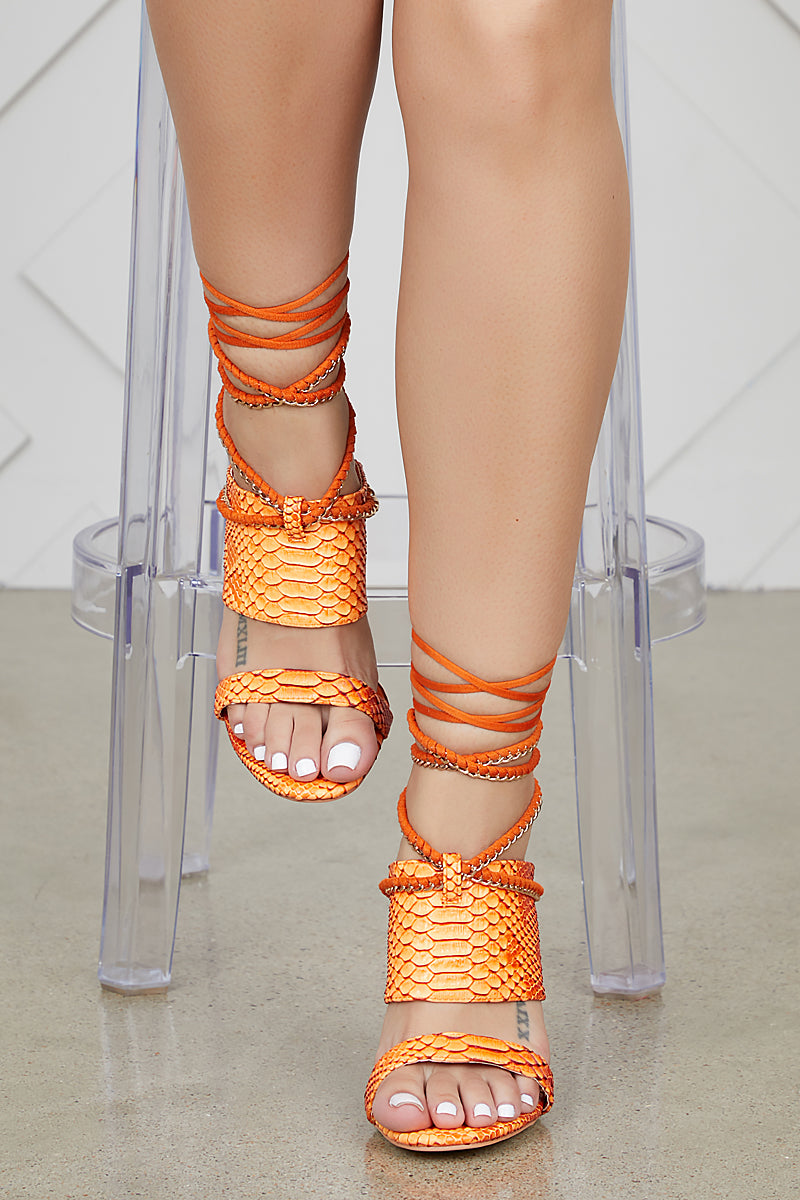 Ava Lace Up Heel (Orange)