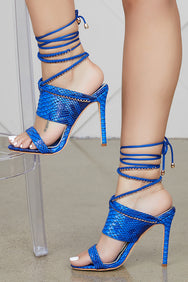 Ava Lace Up Heel (Royal Blue)