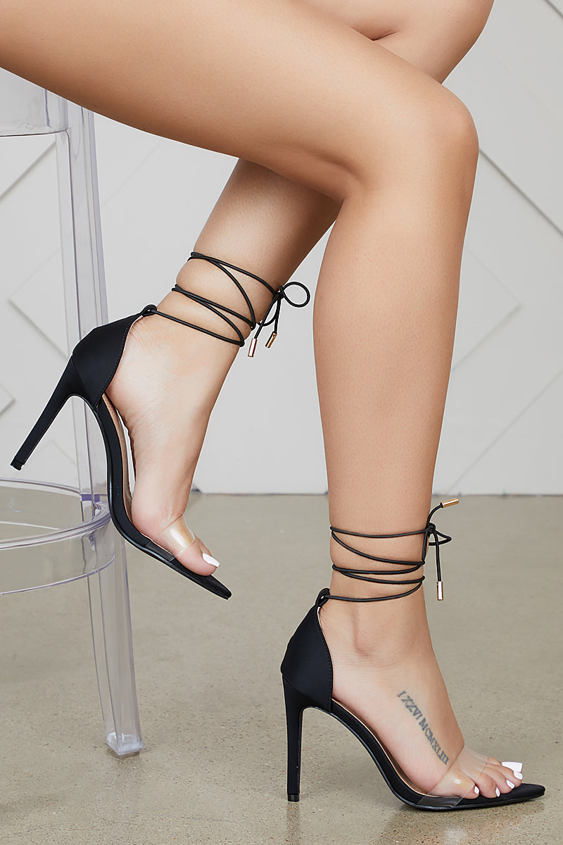 60aaefcd54d Simple Single Sole Lace Up Heel (Black)