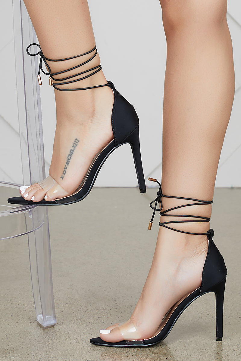 Simple Single Sole Lace Up Heel (Black)