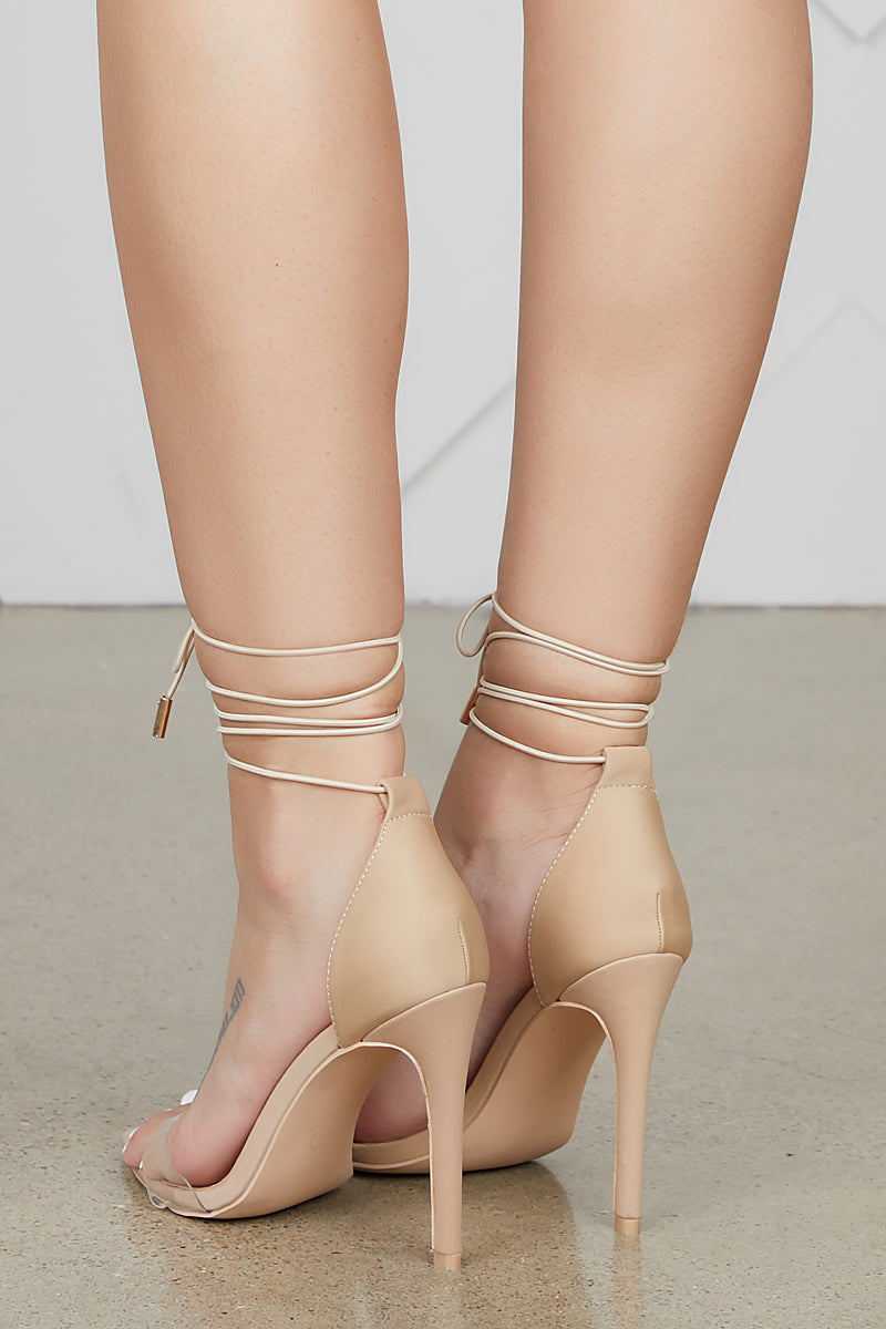 Simple Single Sole Lace Up Heel (Nude)