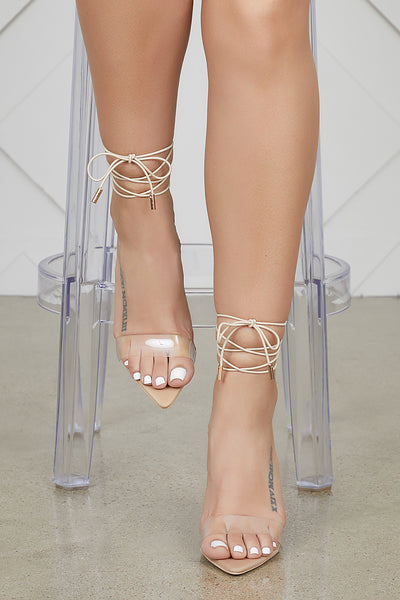 Simple Single Sole Lace Up Heel (Nude)- PREORDER ONLY SHIPS MAY 16TH